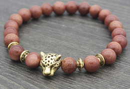 buddha bangles Coupons - 8mm by645 silver gold copper lion Bracelet elastic yellow Tigereye Buddha Yoga Charm nature stone bead Bangles women gift