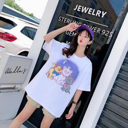 2019 mulheres soltas camisas estrelas Marca de verão das mulheres de impressão de manga curta T-shirt 2019 novo designer de moda gato estrela impressão das mulheres T-shirt casual das mulheres soltas Tees056 mulheres soltas camisas estrelas barato