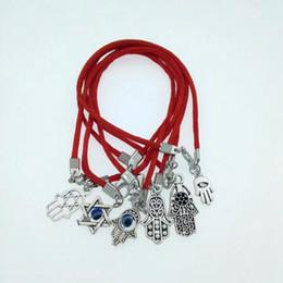 kabbalah cuerdas rojas Rebajas Buena suerte Hamsa mano Kabbalah pulseras de hilo rojo para mujer joyería de moda encantos de plata de la vendimia regalo del partido del brazalete amistad 100pcs