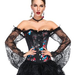 Ossa del pulsante online-Flare Sleeve With Ribbon Dance Overbust Lace Women Corset Button Boned Sexy Shapewear Slim Fit Floral Prospettiva