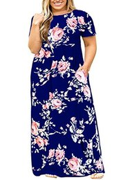 52913de3c9 YONYWA Plus Size Womens Dresses Short Sleeve Casual Loose Plain Long Maxi T Shirt  Dress with Pockets