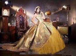 mejor vestido corto rojo Rebajas 2019 Embrodiery Apliques de oro Vestidos de quinceañera con tren de catedral desmontable Dulce 16 Fiesta de cumpleaños Concurso de disfraces de disfraces