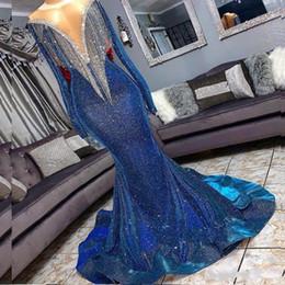 lentejuelas reflectantes Rebajas Lentejuelas Mermaid Prom vestidos reflectantes Beads Sheer cuello mangas largas Sirena vestidos de noche con borlas tren tren vestido de fiesta formal