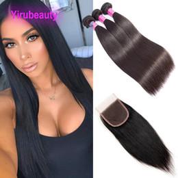 Cierres vírgenes baratos online-Extensiones de cabello virgen brasileño 3 paquetes con cierre de encaje 4X4 tramas de cabello baratas y rectas con cierre de encaje 8-30 pulgadas