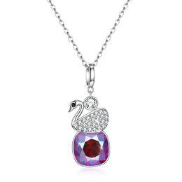 Schwan halskette sterling silber online-Exquisite Lady Crystals aus Österreich Halsketten 925 Sterling Silber Swan Anhänger Frauen Party Halsketten Strass Schmuck Geschenk