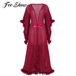 2020 camicia da notte lunga sexy della biancheria Sexy Womens Lingerie Long Accappatoio Camicie da notte Mesh See Through Sheer Bridesmaid Robes Flare Sleeves Feather Maxi Sleepwear Dress camicia da notte lunga sexy della biancheria economici