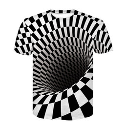 Camiseta do punk rock on-line-T shirt Men Vintage Hip hop Streetwear Black And White Printed Tshirt Vortex 3d T-shirt Punk Rock Funny T shirts Ypf266