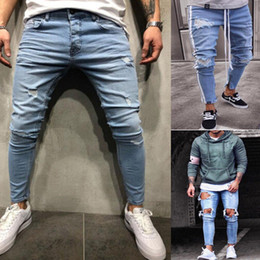 Homens esticados jeans on-line-Plus Size New Men's Skinny Jeans Rip Slim Stretchy Denim Distress Frayed Fashion Rose Embroidery Jeans Stylish Boy Streetwear