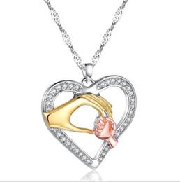 Regalo de la joyería del collar de cadena pendiente del corazón del amor de la mano de los niños de los niños desde fabricantes