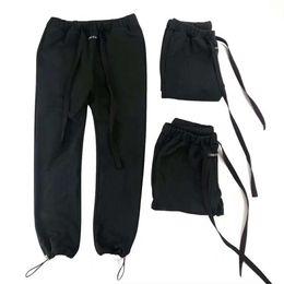 pantaloni di yoga pieno di lunghezza del mens Sconti 19FW Ultimi TOP High Street Hip hop Rap fog style Loose Ribbon Pants PAURA DI DIO Jogging Casual Pantaloni sportivi Cotone tinta unita