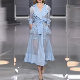 pizzo due pezzi midi Sconti Più nuova Moda 2019 Designer Runway Dress Prospettiva delle donne Piuma Impreziosito Allacciatura Belt Dress Vestito in due pezzi J1