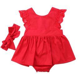 2019 vestido de encaje rojo recién nacido Hot Plain Newborn Baby Girls Romper Dress Jumpsuit Outfits Red Casual Lace Vendaje Ropa de bebé 0-24M 4 unids rebajas vestido de encaje rojo recién nacido