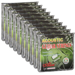 Conjunto de cuerdas de guitarra acústica online-10 sets de cuerdas de guitarra acústica de alice recubierto de aleación de cobre 6 cuerdas Set A407L 012