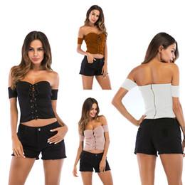 Tops strapless curtos on-line-Elegante Cruz Ties Strapless Regatas Mulheres Moda Curta T Off-ombro Sem Costas De Malha Oco Out Sexy Blusas