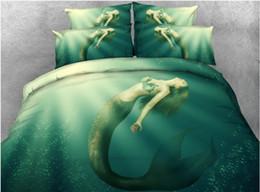 2019 california king size juegos de cama 3d Juego de cama 3D Juego de edredón de cama de lujo Funda de edredón de sirena Sábana de cama Sábanas de lino California King queen size twin 5PCS rebajas california king size juegos de cama 3d