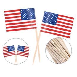 bandiere di bastone americano Sconti 100 pz UK Stuzzicadenti Bandiera Americano Stuzzicadenti Bandiera Cupcake Toppers di Cottura Della Decorazione Della Torta Bere Birra Stick Decorazione Del Partito Forniture BC BH1214