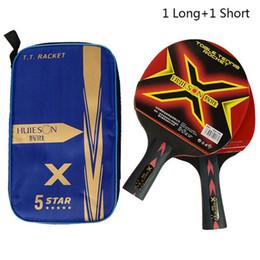 raquetes de tênis de mesa dupla felicidade Desconto Atacado-2pcs atualizado 5 estrelas conjunto de raquete de tênis de mesa de carbono leve e poderoso ping pong remo morcego com bom controle