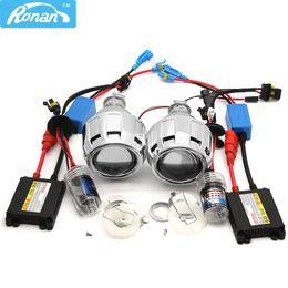 xenon auto scheinwerfer projektor Rabatt RONAN Mini Bi-Xenon Projektor Objektiv 2.5 Automobile Motorrad Scheinwerfer Xenon Kit h1 Parken Car Styling H4 H7 Adapter Basis