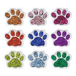 collar de diy perro mascota encantos Rebajas 10 unids Espumoso Gato Perro Oso Huella Encantos 8mm Encantos de la Diapositiva Fit Collar Del Animal Doméstico Pulseras Pulsera Llavero DIY Regalo de la joyería