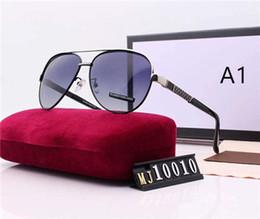 lados de cuero gafas Rebajas Para hombre del diseñador de moda gafas de sol de las gafas de sol de los anteojos de metal 8 colores con alta calidad con la caja