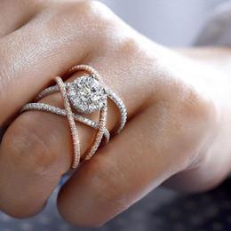 2019 diseños de circones de anillos de oro 1pcs Diseño cruzado Anillo de oro rosa Cristal Circón lleno Anillos de compromiso de boda para mujeres Niñas Joyería rebajas diseños de circones de anillos de oro