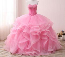 Argentina Barato rosa Puffy princesa vestido de bola vestidos de quinceañera cristales perlas cariño tul longitud del piso dulce 16 vestido corsé de fiesta vestido de fiesta cheap cheap pink corset prom dresses Suministro