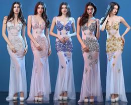 sexy net kleider Rabatt Sexy Spitze Abendkleider New Party Catwalk Sexy Nachtclub Perspektive Lace Party Kleider Net Garn Fischschwanz Prom Dresse