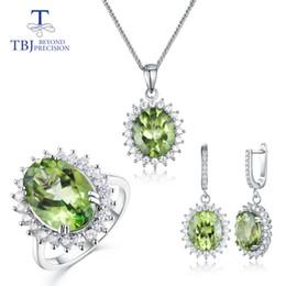 Argentina TBJ, anillo de topacio de peridoto natural, pendientes y colgante de joyería de moda en plata de ley 925 para mujer. Bonito regalo con caja Suministro