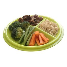 green plastic plates Coupons - Portion Control Plate Meal Reusable With Lid - 3 Sections Microwave Freezer and Dishwasher Safe BPA Free Plastic