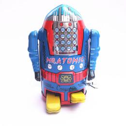 Robôs de estanho on-line-Coleção clássica Retro Clockwork Wind up Metal Walking Tin robô Mecânico brinquedo crianças presente de natal