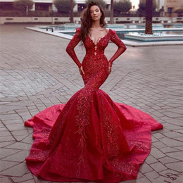 3ad360c182 Gorgeous Major Beadings Red Long Sleeve Mermaid Wedding Dresses Sexy V Cut  Back Lace Applique Bridal Gown Sweep Train robe de mariee