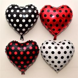 Puntini di partito per palloncini online-100pcs 18 pollici giocattolo nero Serie Red White Spot Dot palloni fumetto partito di buon compleanno Point bambino Decor Globos Balloons Coccinella