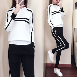 ladies white pant suit women Promo Codes - Women Tracksuits 2019 Autumn Fashion Round Collar Sweater+Slim Pants Knitted Suits Ladies Stripe Two Piece Set Twinset 2 Pcs Set