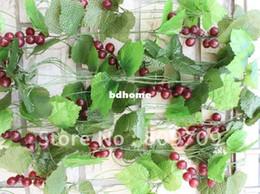 Decoraciones de fiesta de uva online-20pcs / Lot artificial de la vid de uva, Plástico Uva Uva de la fruta de la vid Garland, Decoración Home Party la boda del jardín, venta al por mayor