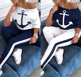 suor calções mulheres quentes Desconto Mulheres Boat Anchor Imprimir Treino Primavera T-shrits + Leggings 2 Piece Set Outfits Shorts luva Tops + Capris Sweat Suit HOT Sportswear2717