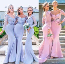2019 barato lilás vestidos de dama de honra longos 2019 Lilac Sheer Mangas Compridas Sereia Vestidos dama de honra baratos feitos à mão flor apliques de dama de honra vestidos vestidos de convidados de casamento rosa barato lilás vestidos de dama de honra longos barato