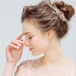 bc0d302843a diamond hair claw clips Coupons - 2018 Luxury Rose Gold Flowers Bridal Hair  Pieces In Stock
