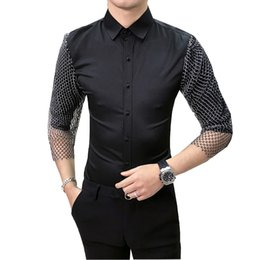 dress matching black man Promo Codes - Brand New 2019 Shirt Men Fashion Simple Mens Casual Shirts Half Sleeve Slim Fit All Match Men Shirt Night Club Prom Tuxedo Dress