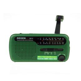2019 degen rádios portáteis Radio Crank Solar FM AM SW Receiver Crank Dynamo rádio com carregador de celular lanterna