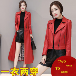 black leather pics Promo Codes - Real pic red black green soft sheep skin real genuine women lady autumn winter spring extra long leather coat trench on sale
