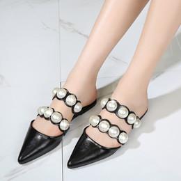 scarpe chiuse a punta per l'estate Sconti Classics Retro Casual Slippers Solid String Bead Summer Closed Toe Scivolate antiscivolo Scarpe basse chiuse