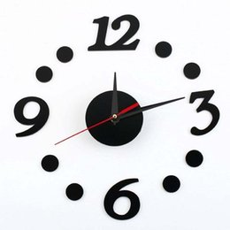 números automáticos Desconto Adesivo de relógio de parede preto, número DIY auto-adesivo digital pontos relógio de parede