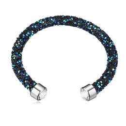 Swarovski bracelet online-Hecho con cristales de Swarovski Elements Rolled Rocks Cuff Bangle Womens Pulsera Joyería Moda Mujer Bijoux regalo de Navidad