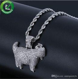 Joyas de cabra online-Joyería de hip hop Cadenas de glaseado de cabra Collar de diseñador de cabra para hombre Cadena del rapero de oro Encantos de animales de diamantes de lujo Bling Enlace cubano Hiphop