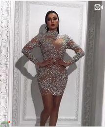 meninas tamanho bling vestido Desconto Yousef Aljasmi Frisado Prom Vestidos de Gola Alta Mangas Compridas Formal Evening Vestidos Mini Vestidos de Festa de Formatura de Luxo Custom Made Plus Size