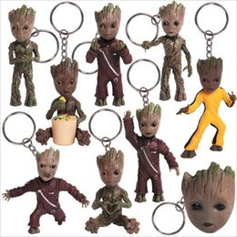 rocket baby toy Promo Codes - Tree Man Baby Groots Action Figure Toys Keychains Hero Model Guardians of The Galaxy2 Pendants gifts slingshot star lord Rockets for Child
