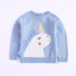 2019 il commercio all'ingrosso del cardigan dell'increspatura delle ragazze Ragazza bambini abbigliamento pullover sweaer girocollo unicorno design a maniche lunghe maglia maglione ragazzo abbigliamento maglione