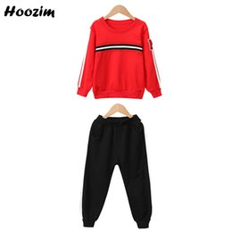 children sport tracksuit sets suits Promo Codes - Autumn Elastic Waist Fitness Legging Set Girls Nice Child Tracksuit Red Striped Long Sleeve Cotton T Shirt Sport Suit For Girls