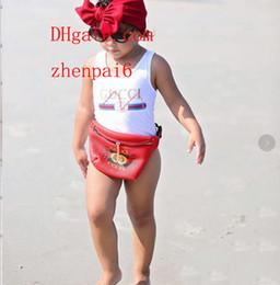 Macacões de alta qualidade on-line-Ins best selling high end one-piece bebê meninas macacões swimwear letra impressão maiô crianças roupas de praia 2 T-8 T A-U7