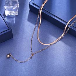 2019 titan-kugelkette halskette ZooMango Titan Stahl Doppel-Schicht-Schlange-Ketten-Halsketten für Frauen Rose Goldtroddel Ball Halskette RN02331 rabatt titan-kugelkette halskette